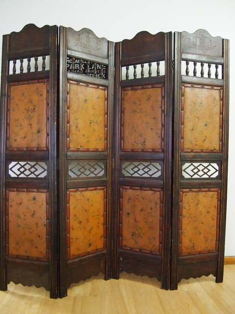 ANTIQUE vintage ART DECO - Wooden 4 Panel Room Divider - French influence $460 (25.95 postage)