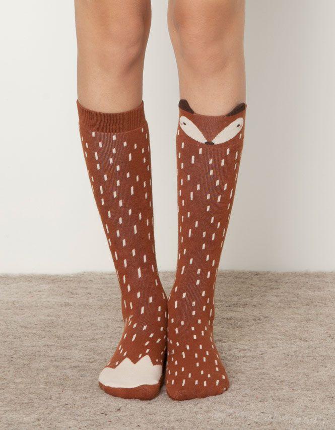 Knee high socks with an adorable red fox design! Calzino alto volpe - Calzini - Accessori - Italia