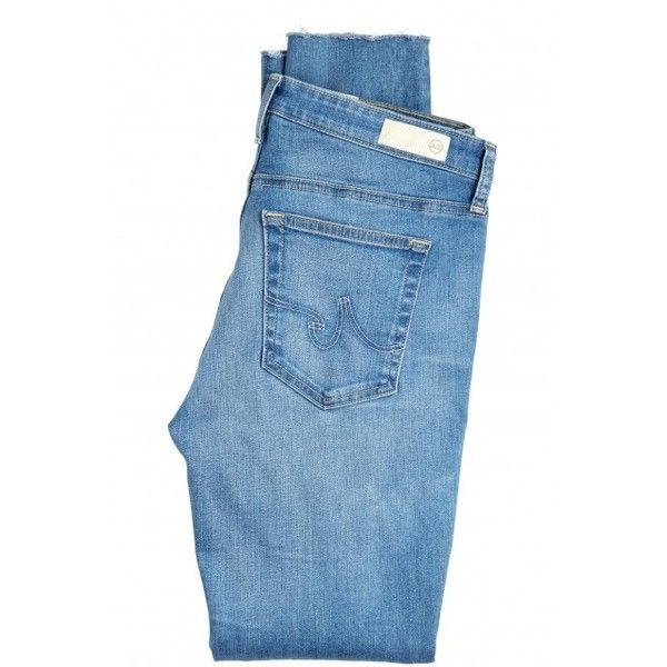 ADRIANO GOLDSCHMIED AG Middi Ankle Raw Hem Jean featuring polyvore, fashion, clothing, jeans, pants, bottoms, denim, ag+adriano+goldschmied jeans, denim jeans, ag adriano goldschmied, mid rise skinny jeans and blue jeans