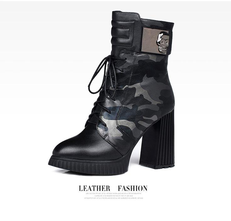 Chunky high heel military genuine leather camo boots women
