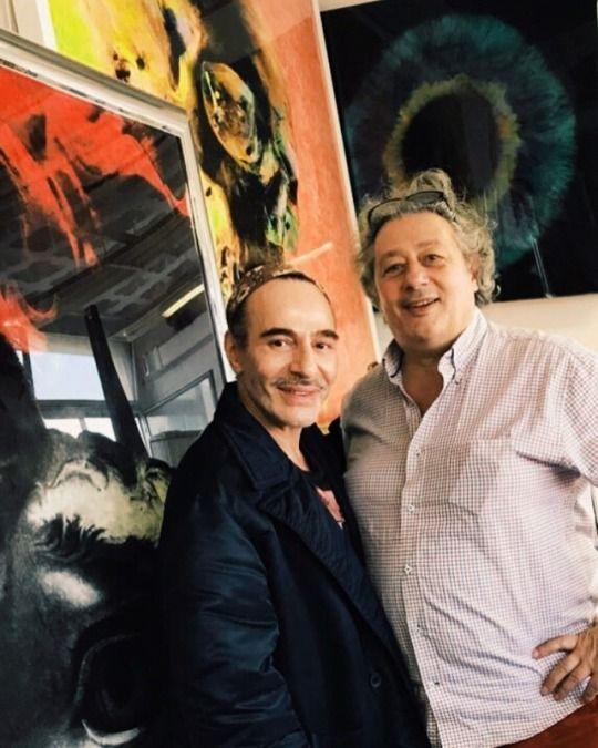 John Galliano and painter Daniel Gastaud in Paris, 2018. Image published by Daniel Gastaud on 26 January 2018.