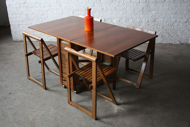 Danish Mid Century Modern Drop Leaf Gate Leg Table with Chairs (1950s) by Kinzco, via Flickr