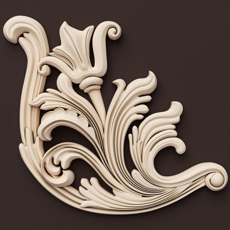 3d model classical ornamental interior wall