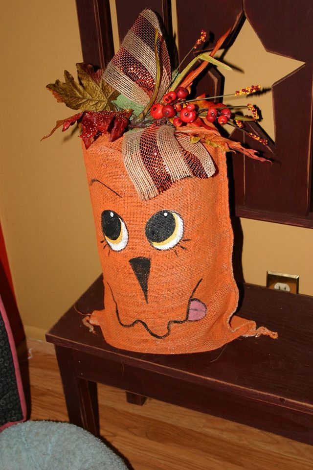"""Another burlap bag creation from Buck Creek Gift and Country Crafts.  Hand painted bag also has lights inside.  Bag is about 18"""" tall."""