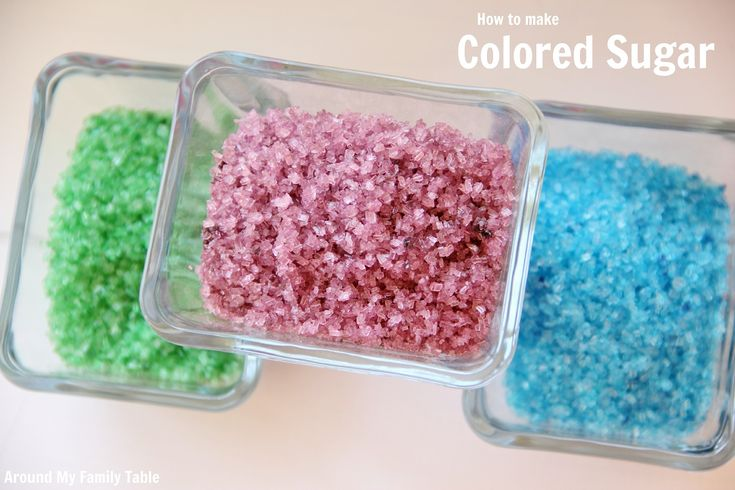 How to Make Colored Sugar (Ingredients:  Sugar Crystals & Food Dye & Ziptop Baggie) {Make Your Own:  It's a Lot Cheaper, Use the Type of Sugar You Want, Customize Colors, It's Easy.  Uses For Colored Sugar:  Cookies, Cupcakes, Cakes, Rim a Smoothie Glass, Rim a Coctail or Margarita Glass & Use on Other Desserts.)   l  Around My Family Table