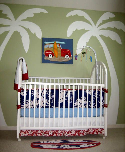 """Bennett's nursery was more boathouse than surf shack, but I might use some of this in his new """"big boy room""""!: Wall Murals, Murals Ideas, Palms Trees, Beach Theme, Baby Room, Beach Palms, Surf Shack, Peanut Butter, Boys Room"""