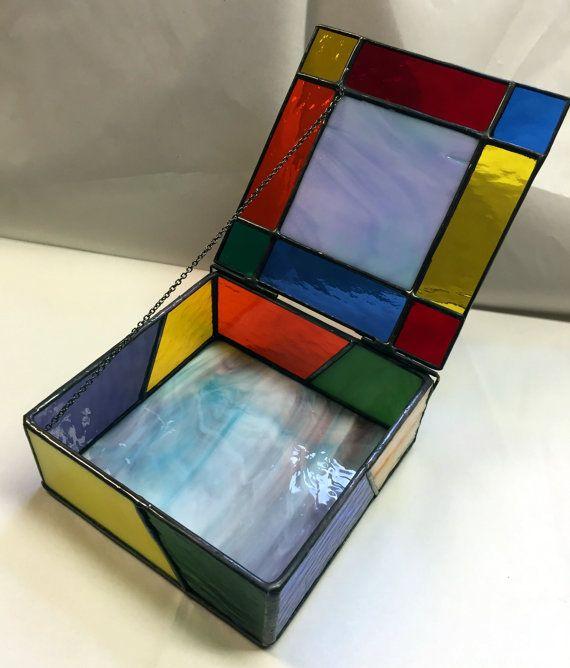 Caja de joyería de vidrio recuerdo caja de la por PeaceLuvGlass                                                                                                                                                      Más
