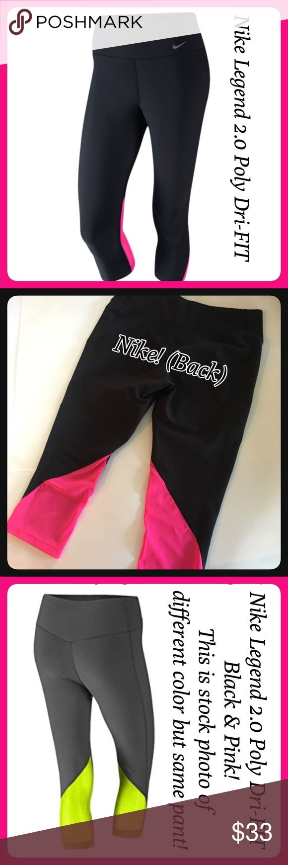 """NWOT Nike Legend 2.0 Poly Tight Fit Capris L NWOT Nike Legend 2.0 Poly Tight Fit Training Capri pants. Dri-FIT. Made with sweat-wicking stretch fabric that hugs your body from hips to hem for a flattering & comfortable fit! Black with hot pink mesh accents on the back of the legs. My measurements are: waist 15"""" unstretched laying flat, inseam approx. 19"""". Tapered leg. 88% Recycled Polyester 12% Spandex. Nike TEN less plastic bottles, ONE Legend Pant! Nike Pants Capris"""