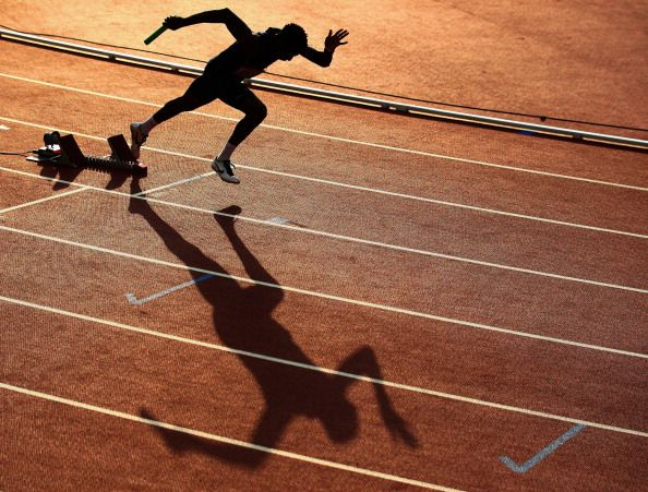 An athlete leaves the blocks at the start of the Men's 4x400 metres relay heats at Hampden Park during day nine of the Glasgow 2014 Commonwealth Games on August 1, 2014 in Glasgow, United Kingdom. (Photo by Ian Walton/Getty Images)
