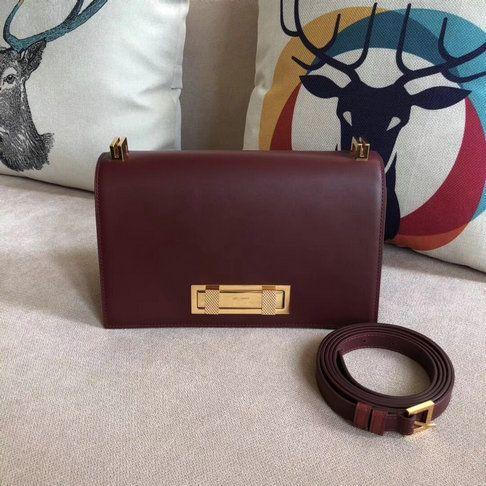 992b65ab4a43 2018 Saint Laurent Domino Medium Bag in burgundy smooth leather ...