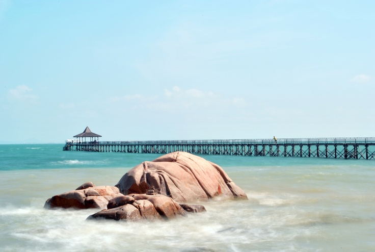 Batam, Indonesia- the beach is famous for its giant rocks