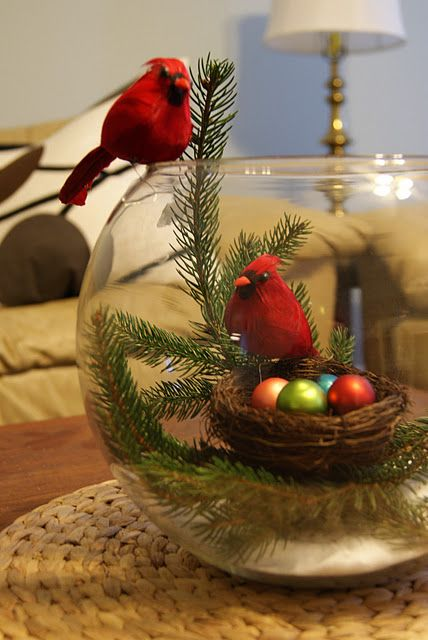 easy way to bring fresh greens in the house and keep them fresh too.DIY Christmas cardinal craft