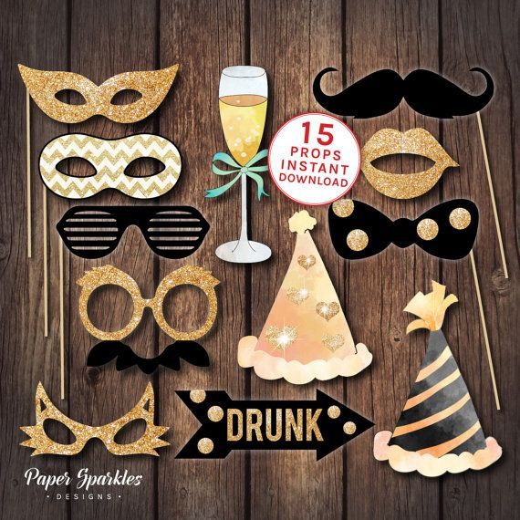 13 page PDF of printable black and gold glitter effect party props, including: glasses moustache hats champagne drinks glasses lips Arrows: DRUNK, CHEERS and bow tie. Perfect addition to any party. Great for a photo booth. * * * * * * * HOW THEY WORK: The props are set to size: You will need to print the 13 page PDF on 8.5 x 11 inch card. Print file at 100% with no page scaling. Trim each prop and stick onto wooden skewers/dowels. Please visit our shop to see all designs. Have a lovel...