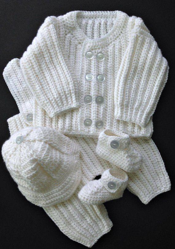8b2fa96bfdc3 Baby Boy Christening Outfit Crochet Pattern Sweater Jacket