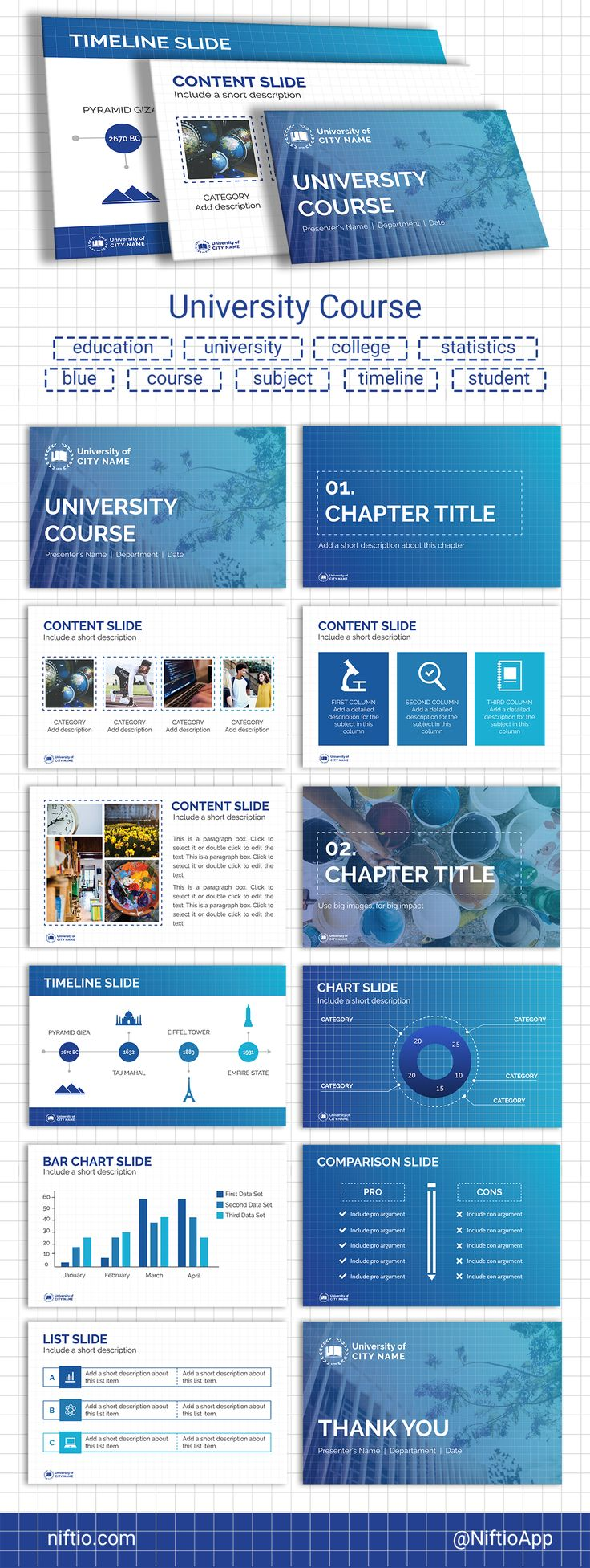 "Dear Edu, this Template Thursday is about you! Meet the ""University Course"" presentation template. Use this template freely! #edu #education #templatethursday #presentationtemplate"