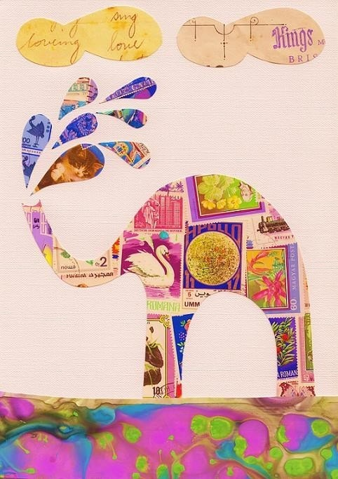 Elephant Art - Print (Elephant Bath). $20.00, via Etsy.