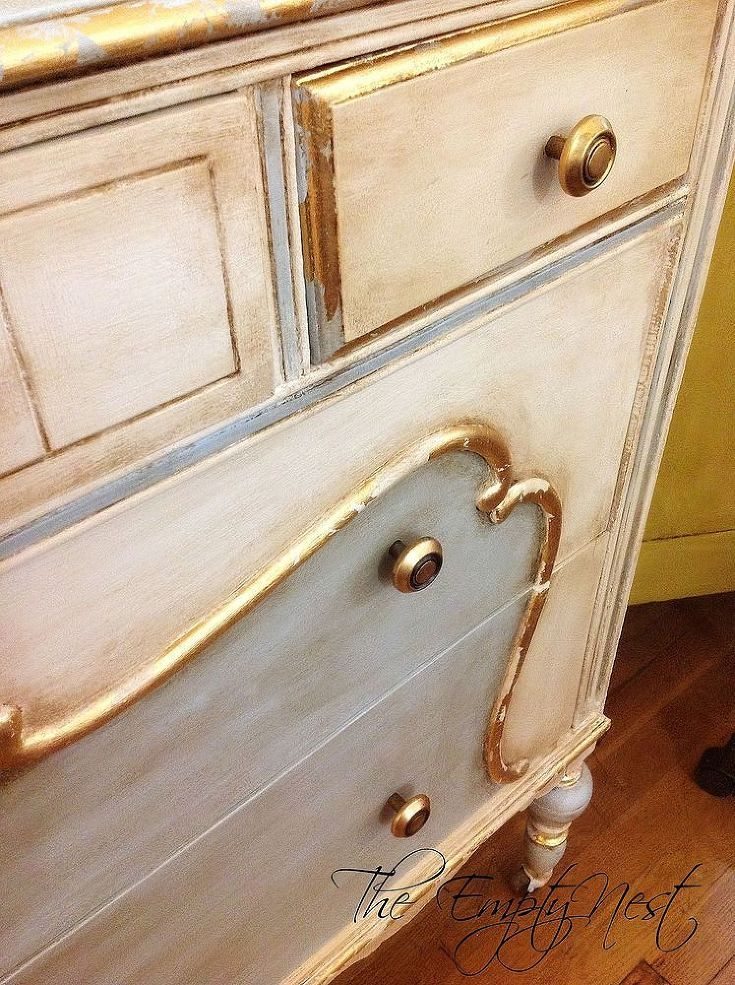Chalk Paint® Decorative Paint by Annie Sloan over gold leaf on a small dresser | By stockist The Empty Nest | Via Hometalk