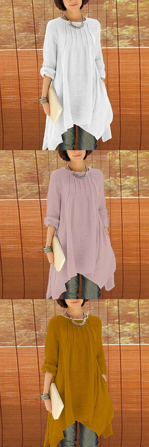 US$ 22.95 Women Long Sleeve Pure Color Asymmetrica Loose Shirts