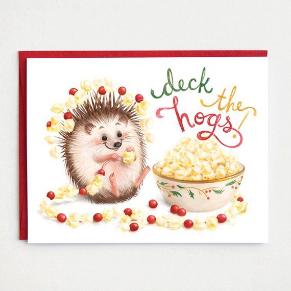 Hedgehog Christmas Card Deck The Hogs Hedgehog Holiday Etsy Punny Christmas Cards Hedgehog Christmas Funny Holiday Cards