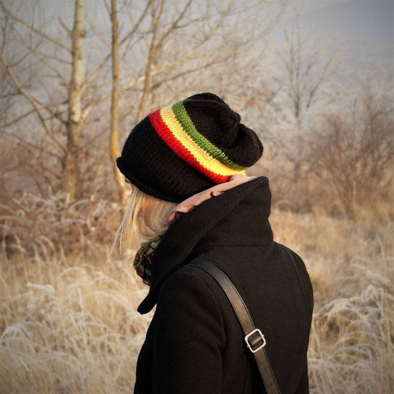 Rasta Striped Slouchy Beanie Hat / Hand Knit Fall by RUKAMIshop