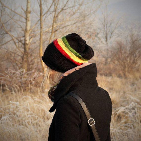 Rasta Striped Slouchy Beanie Hat / Hand Knit Fall by RUKAMIshop