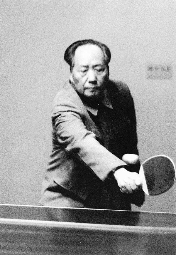 Mao Zedong playing ping pong, 1963.