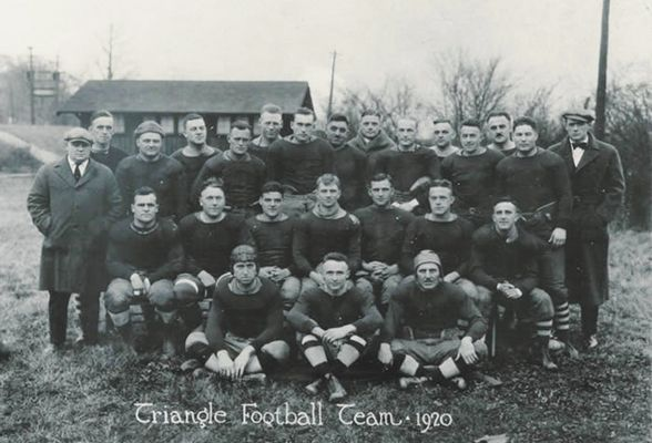 """On October 3, 1920, Dayton, Ohio became the site of the first professional football game between two teams of the American Professional Football League (later the NFL). The game was played on a field in Triangle Park where the Dayton Triangles defeated the Columbus Panhandles 14-0. The Triangles' Lou Partlow scored the first touchdown and George """"Hobby"""" Kinderdine kicked the first extra point. Today, an Ohio Historical Marker designates the site of that first football game. #DaytonOriginal"""