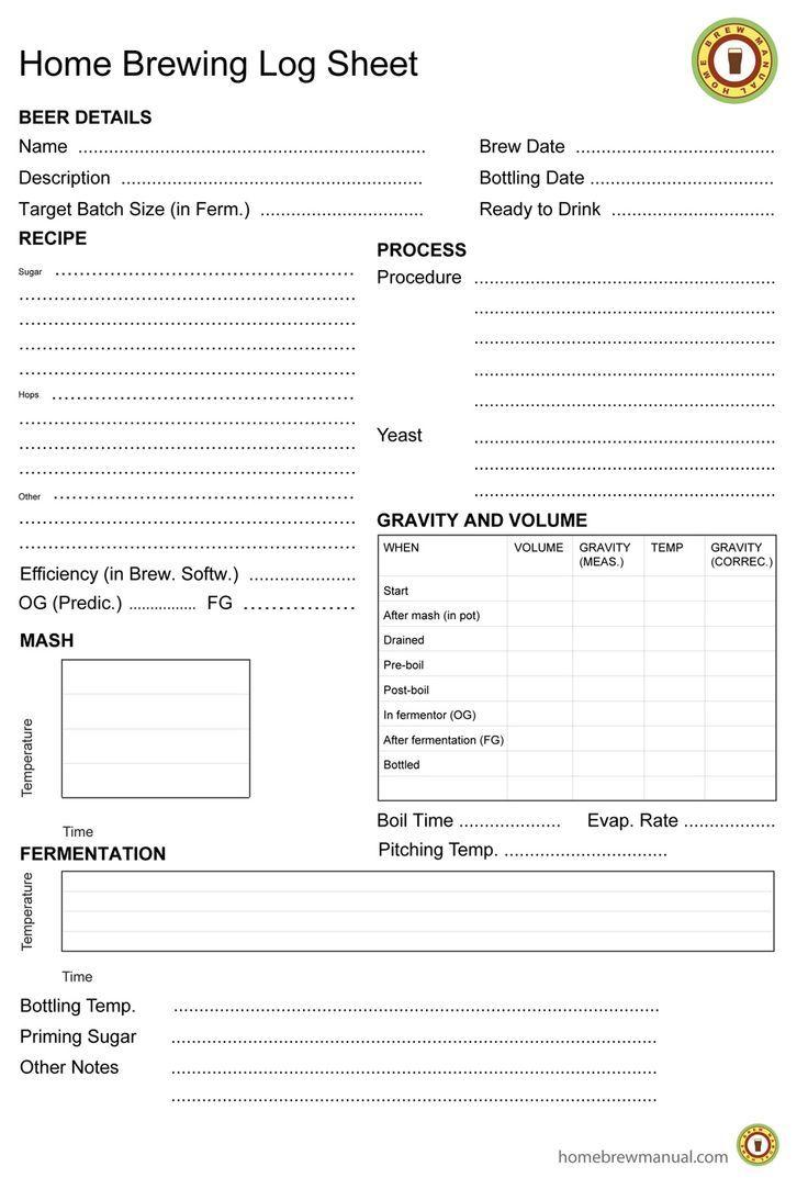 Home brewing log sheet