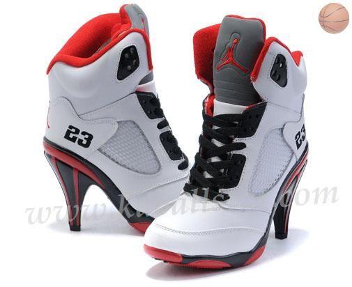 brand new 623a7 195fb ... nike air max 2003 chaussures - Femmes Air Jordan 5 High Heels Blanc  Noir Rouge   jordans ...