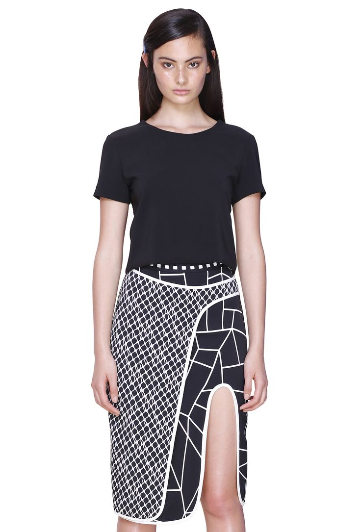 MESH LAYER T-SHIRT & WRAP CLASH SKIRT #byjohnny #abstrACTION #SPRING2015 #AUSTRALIANFASHION