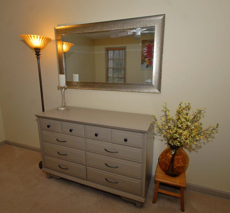 Bedroom update painted old dresser sand matches baseboard for Gold stand up mirror