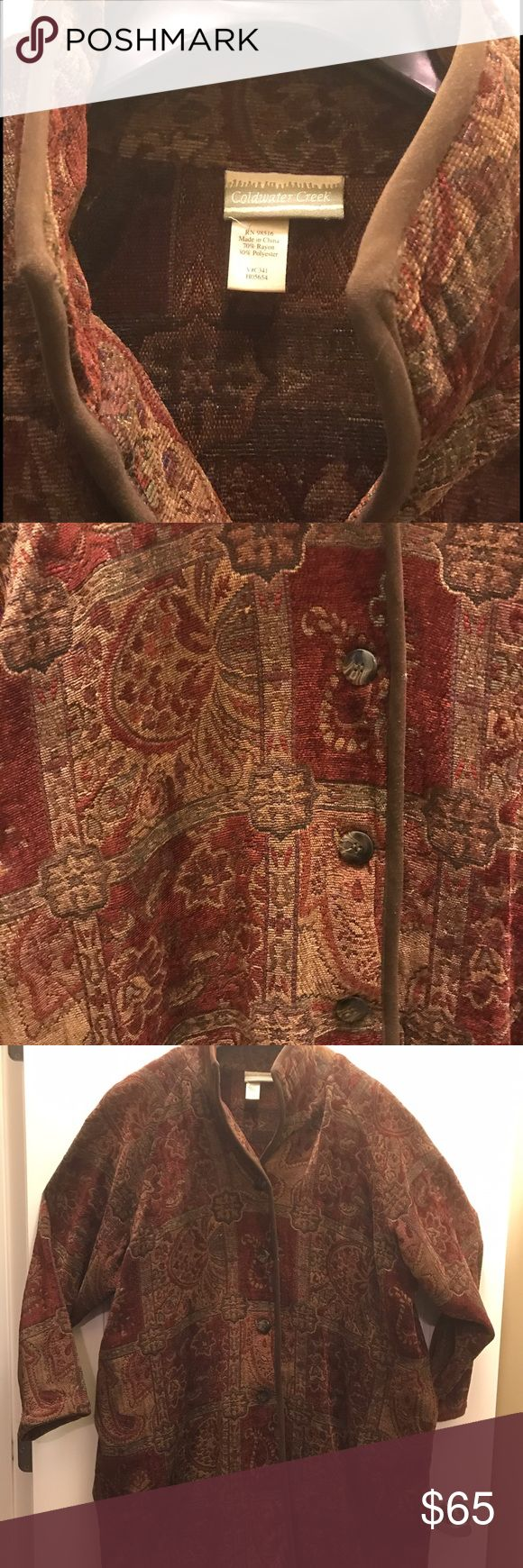 Coldwater Creek Tapestry Coat Stunning tapestry coat from Coldwater Creek in shades of brown, rust, maroon and more. Button down with rust trim. Coldwater Creek Jackets & Coats