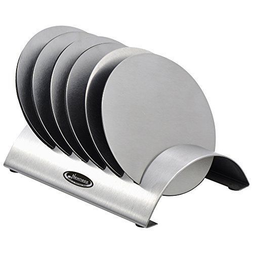 Cup Coasters, Newness Cup Coasters Set with Decorative Rack, Stainless Steel Tabletop Display Round Cup Coaster with Holder, Silver, Set of 6 >>> Learn more by visiting the image link.