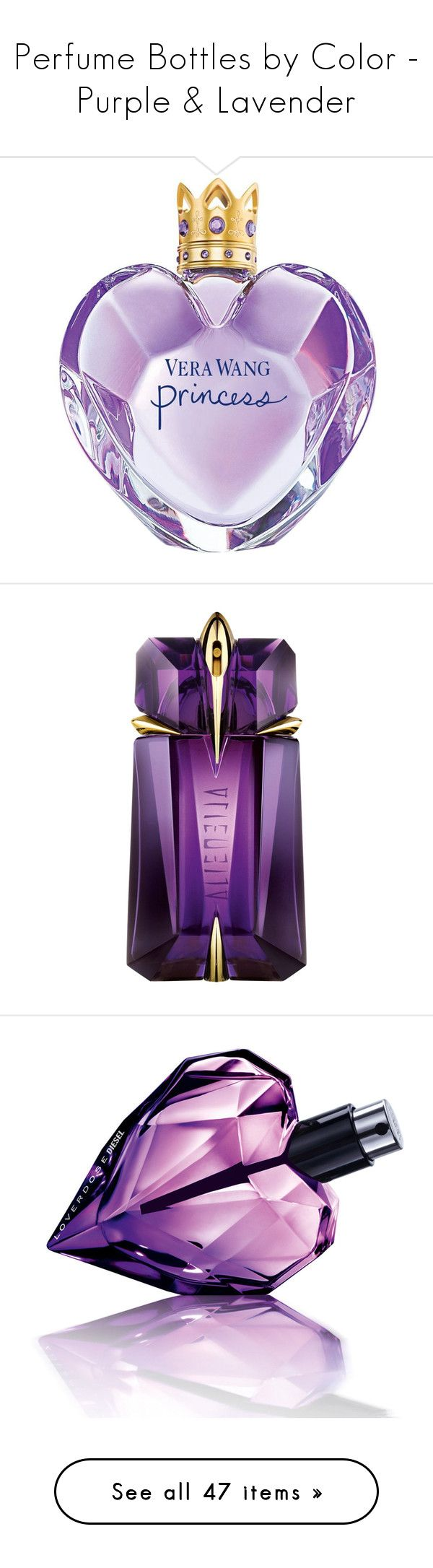 """""""Perfume Bottles by Color - Purple & Lavender"""" by helenehrenhofer ❤ liked on Polyvore featuring beauty products, fragrance, perfume, beauty, makeup, purple, filler, blossom perfume, eau de toilette fragrance and fruity perfume"""