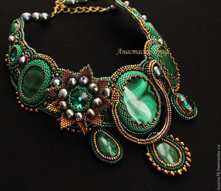 Купить Колье Сказы Бажова (малахит, кристаллы Сваровски, черный жемчуг) - зеленый, малахит