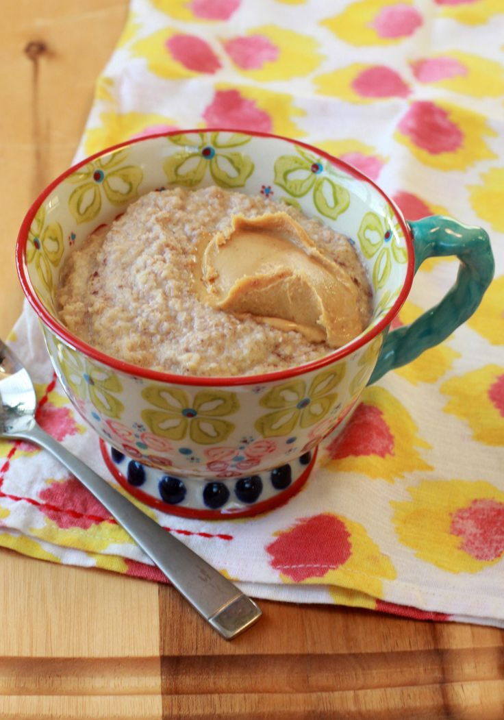 Oat Bran Hot Cereal - 09/21/15 Used 1 tsp pumpkin spice and almond butter. Hubby tried with coconut cream. Yummy!