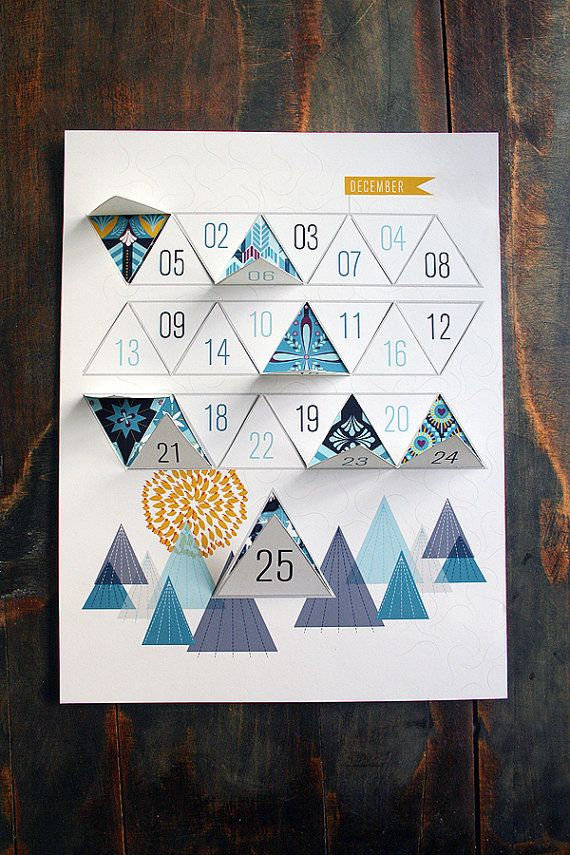 Modern Advent Calendar Printable PDF by JhillDesign on Etsy