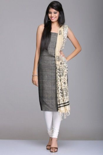Black & Beige Unstitched Matka Silk & Khadi Cotton Suit With Tribal Theme And Floral Motif Hand Block Print On The Dupatta