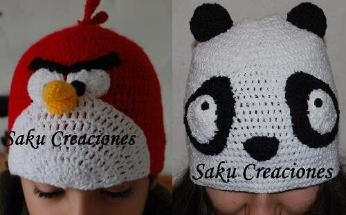 Gorros al crochet Angry birds / panda