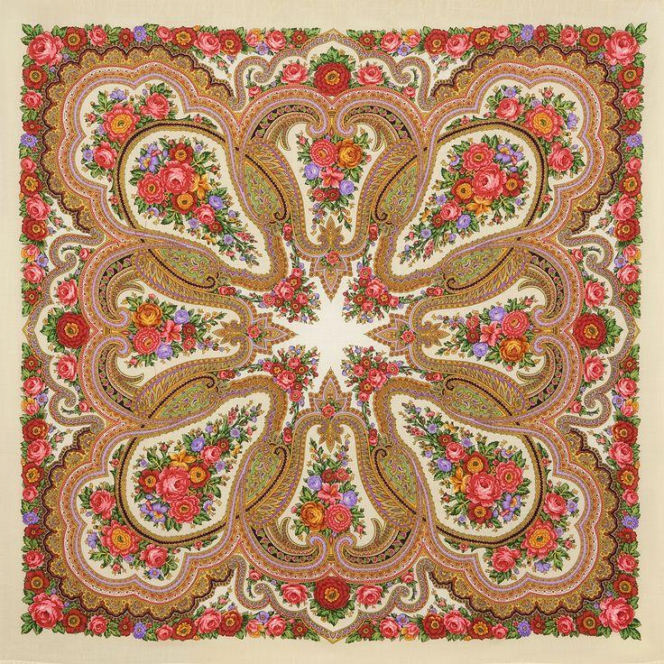 """Платок шерстяной с шерстяной бахромой """"Любава"""", вид 1, 146x146 см Старинный рисунок. (Рисунок 1289-1.) Восстановлен Н. Белокур Художник: Неизвестный автор 2430 руб."""