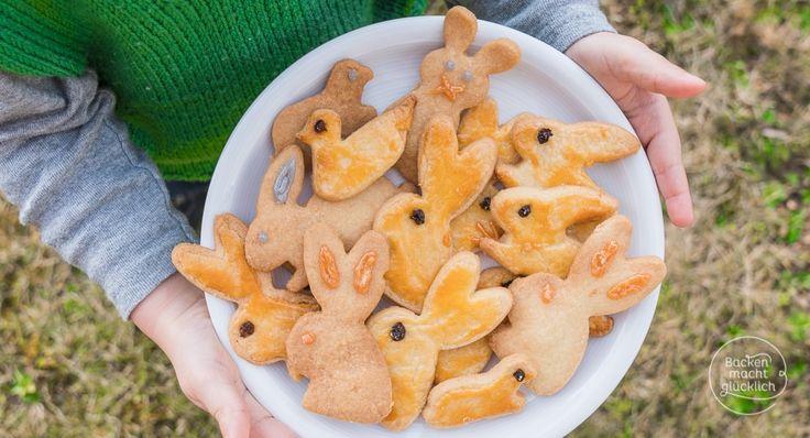 Einfaches Rezept für klassische Osterhasen-Kekse aus Mürbeteig. Ein schönes Rezept fürs Backen mit Kindern!