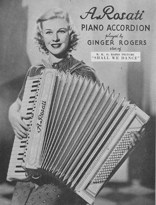 Ginger Rogers advertising the A Rosati Piano Accordion.  Cool