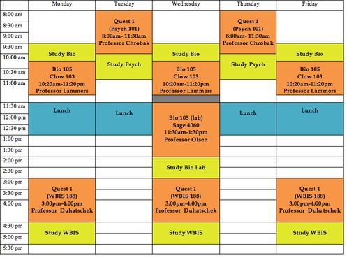 Sample College Schedule kicksneakers