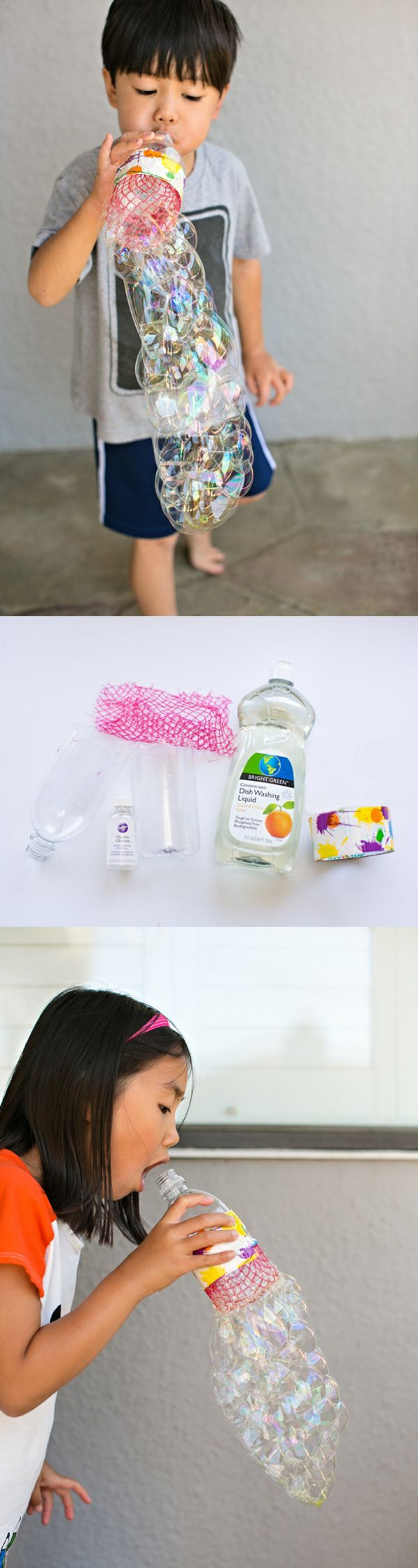 DIY Recycled Bottle Bubble Blower. Find out how to make this fun DIY bubble solution and blower in just 5 minutes! Fun outdoor summer craft for kids.
