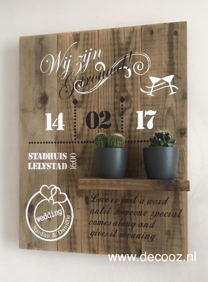 Houten bord voor bruiloft trouwbord van hout trouwkaart