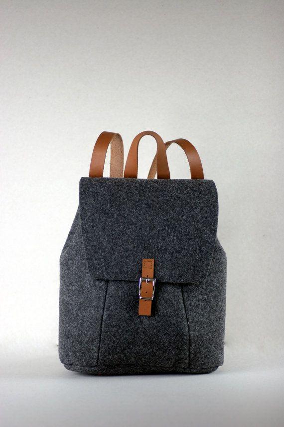 SALE FELT LEATHER Rucksack bag backpack by FUTERAL on Etsy