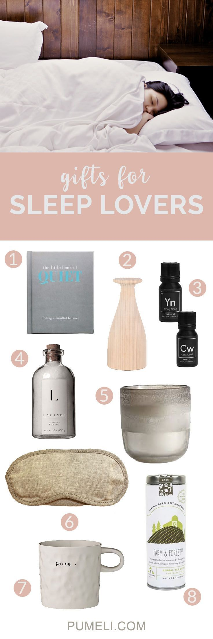 This gifting season; indulge your sleeping beauty with these 8 tranquil gifts. #giftguide #giftsforher #relaxation