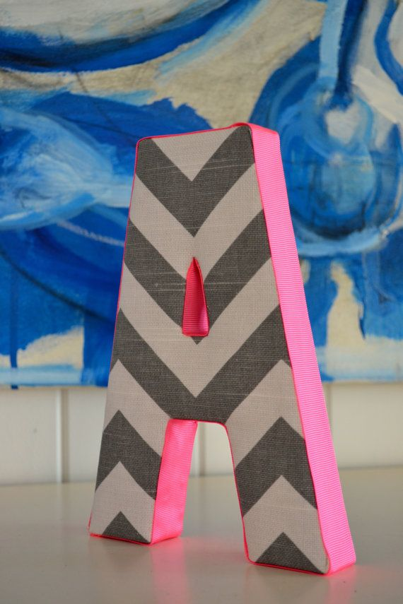 Wall Art - Personalised Fabric Letter A in Grey Chevron with Hot Pink Ribbon