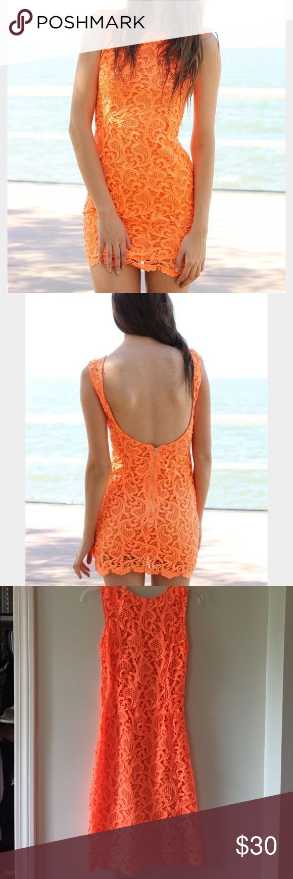 Sabo Skirt Orange Lace Dress Worn a few times in perfect condition. Open back Sabo Skirt Dresses Mini