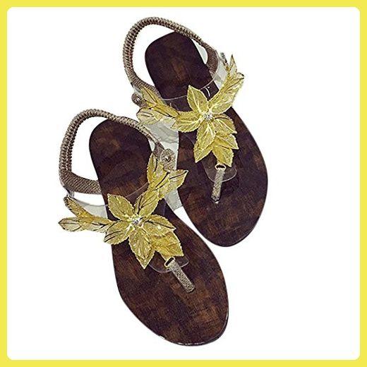 Hunpta Frauen Riemchensandaletten Pumpen Hochzeit tragen Low Cut Kreuz Schnallenschuhe (35, Gold) - Sandalen für frauen (*Partner-Link)